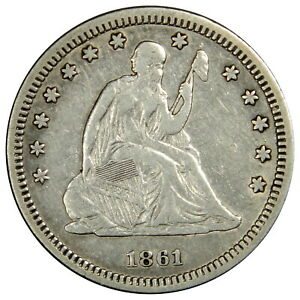 1861 SEATED QUARTER   NICE XF PRICED RIGHT