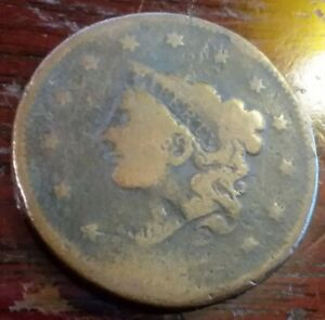 MATRON HEAD US UNITED STATES LARGE CENT PENNY WELL WORN ANTIQUE COIN