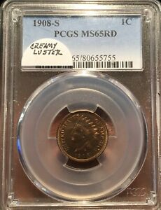 1908 S INDIAN HEAD 1C PCGS MS 65RED