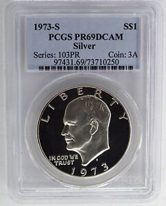1973 S SILVER PROOF EISENHOWER DOLLAR PCGS PR69DCAM