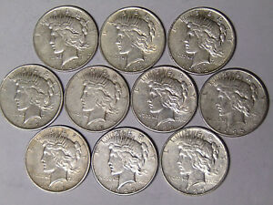 LOT OF 10 PEACE SILVER DOLLARS 1922 1922 D 1922 S 1923 1923 S CIRCULATED