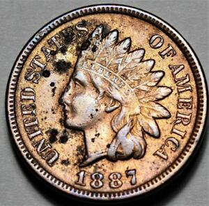 1887 INDIAN HEAD CENT  >> US 1C PENNY COIN <<