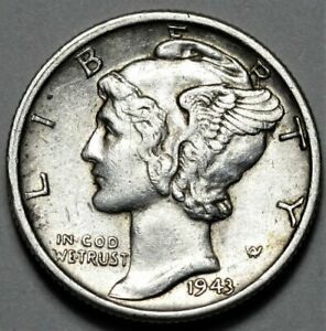 1943 D MERCURY DIME  >> US SILVER 10C COIN <<  FLAT RATE SHIPPING