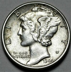 1944 P MERCURY DIME  >> US SILVER 10C COIN <<  FLAT RATE SHIPPING