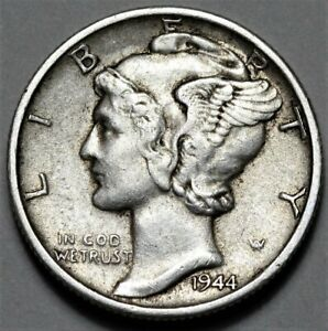 1944 S MERCURY DIME  >> US SILVER 10C COIN <<  FLAT RATE SHIPPING