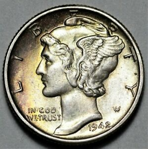1942 P MERCURY DIME  >> US SILVER 10C COIN <<  FLAT RATE SHIPPING