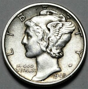 1945 D MERCURY DIME  >> US SILVER 10C COIN <<  FLAT RATE SHIPPING
