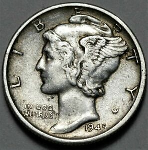 1945 S MERCURY DIME  >> US SILVER 10C COIN <<  FLAT RATE SHIPPING