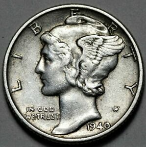 1940 P MERCURY DIME  >> US SILVER 10C COIN <<  FLAT RATE SHIPPING