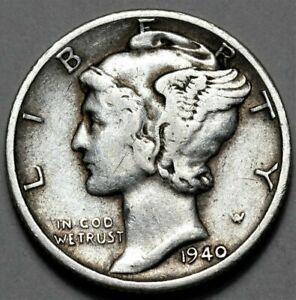 1940 D MERCURY DIME  >> US SILVER 10C COIN <<  FLAT RATE SHIPPING