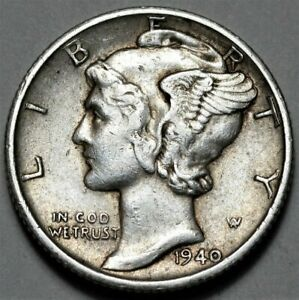 1940 S MERCURY DIME  >> US SILVER 10C COIN <<  FLAT RATE SHIPPING