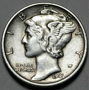 1941 P MERCURY DIME  >> US SILVER 10C COIN <<  FLAT RATE SHIPPING