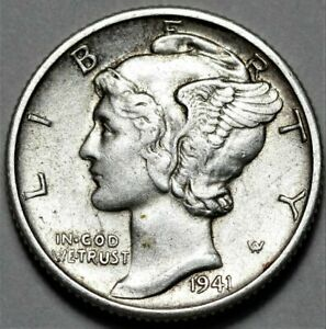1941 D MERCURY DIME  >> US SILVER 10C COIN <<  FLAT RATE SHIPPING