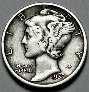 1939 S MERCURY DIME  >> US SILVER 10C COIN <<  FLAT RATE SHIPPING