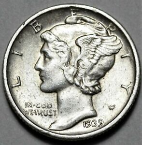 1939 D MERCURY DIME  >> US SILVER 10C COIN <<  FLAT RATE SHIPPING