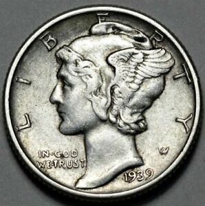 1939 P MERCURY DIME  >> US SILVER 10C COIN <<  FLAT RATE SHIPPING