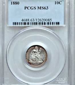 1880 PCGS MS63 MINTAGE 36 000    LOWEST 1880 2019 LOOKS FULLY PL SEATED DIME 10C
