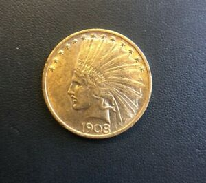 1908 NO MOTTO $10 INDIAN HEAD GOLD EAGLE TOUGH DATE & LOW MINTAGE COIN
