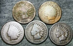 1866 1869 1870 1886 1891 INDIAN CENT PENNY US COIN      NICE LOT      V180