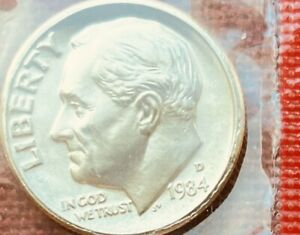 1984 D ROOSEVELT DIME UNCIRCULATED IN ORIGINAL MINT CELLO