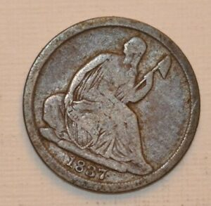 1837 SEATED HALF DIME NO STARS