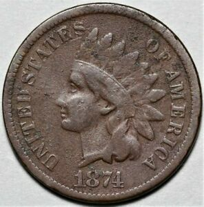 1874 INDIAN HEAD CENT   >> US 1C PENNY COIN <<  FLAT RATE SHIPPING