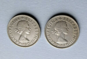 2 BRITISH COINS WORTH TWO SHILLINGS EACH MADE OF COPPER / NICKEL 1963 & 1966
