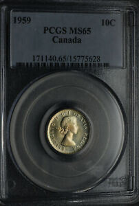 1959 TEN CENTS 10 PCGS MS 65   NICE WHITE COIN WITH LIGHT GOLD TONES