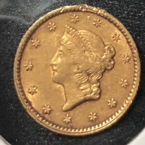 1853 $1 LIBERTY GOLD DOLLAR TYPE 1 CHOICE DETAIL EX JEWELRY SOLDERED BACK
