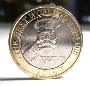 COLLECTABLE FIRST WORLD WAR 1914  1918   2014 BRITISH CIRCULATED 2 COIN 2 POUND