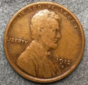 1912 D  LINCOLN WHEAT CENT PENNY   FREE SHIP. B203