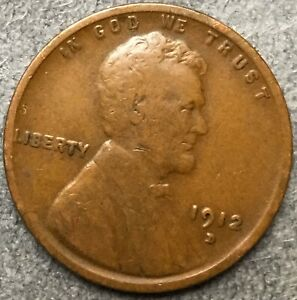 1912 D  LINCOLN WHEAT CENT PENNY   FREE SHIP. B204