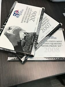 Click now to see the BUY IT NOW Price! US MINT 50 STATE QUARTERS SILVER PROOF SETS  3  2006 2007 2008 ALL WITH CERT