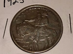 1925 STONE MOUNTAIN COMMEMORATIVE SILVER HALF DOLLAR AU AND UNCERTIFIED