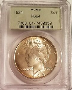 1924 PCGS  MS64 PEACE SILVER DOLLAR OLD GREEN HOLDER