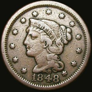 1848 BRAIDED HAIR LARGE CENT TYPE PENNY     TYPE COIN     V973