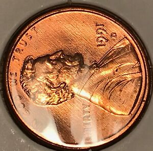 1991 D LINCOLN CENT   SERIES OF SMALL MINT LINES BOTH SIDES