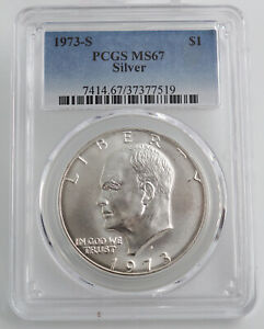 1973 S SILVER UNCIRCULATED EISENHOWER DOLLAR PCGS MS67 7519