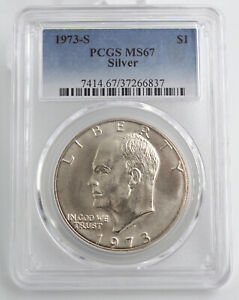 1973 S SILVER UNCIRCULATED EISENHOWER DOLLAR PCGS MS67 6837
