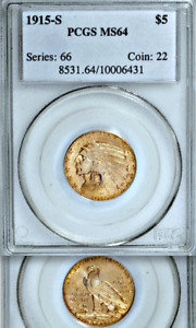 Click now to see the BUY IT NOW Price! 1915 S PCGS MS64 CONDITION RARITY $5 HALF EAGLE