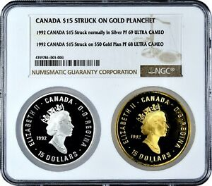 PROOF 1992 CANADA $15 STRUCK OFF METAL ON $50 GOLD PLAN NGC PF 68 DISCOVERY COIN