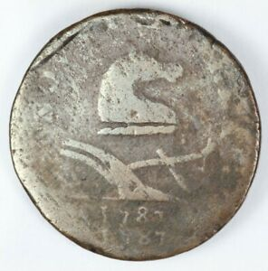 1787 NEW JERSEY DOUBLE STRUCK COLONIAL COPPER COIN   M. 38 C W 5190 R.3