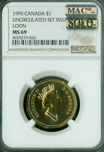 1995 CANADA LOON DOLLAR NGC MS 69 MAC SOLO FINEST GRADED SPOTLESS ..