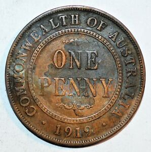1919 AUSTRALIA WORLD ONE PENNY CENT WORLD VINTAGE BEAUTIFUL COLLECTIBLE COIN