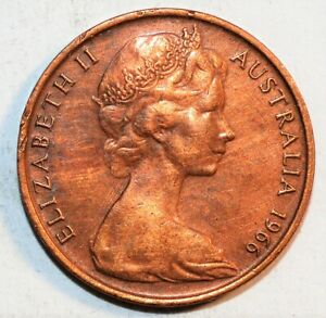 1966 AUSTRALIA WORLD 2 CENTS TWO WORLD VINTAGE BEAUTIFUL COLLECTIBLE COIN
