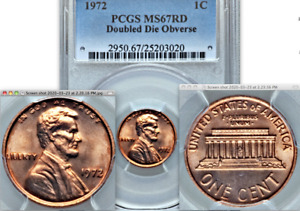 Click now to see the BUY IT NOW Price! 1972 PCGS MS67 RD DOUBLED DIE OBVERSE LOVELY RED  DDO LINCOILN CENT VARIETY 1C