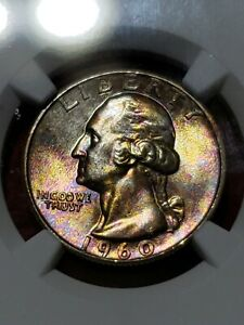 Click now to see the BUY IT NOW Price! 1960 WASHINGTON QUARTER   RAINBOW TONED   TYPE B   NGC MS67   TOP POP