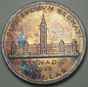 1939 CANADA 1 ONE DOLLAR SILVER UNC MONSTER CHOICE COLOR BU TONED GEM  DR