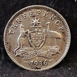 1936 M  AUSTRALIA SILVER 3 PENCE LAST OF GEORGE V MELBOURNE MINT KM 24  AS4