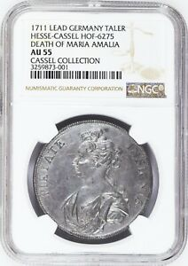 UNIQUE 1711 GERMANY TALER HESSE CASSEL LEAD OBV & REV DIE TRIAL NGC AU 55